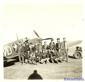 Org-Photo-US-52nd-Fighter-Group-Pilots-w-Spitfire-Fighter-Plane-North-Africa