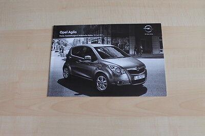 74078) Opel Agila - Technik & Preise & Extras - Prospekt 07/2011 ZuverläSsige Leistung