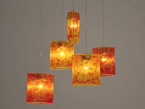 Fused Gl Pendant Lights Red Orange