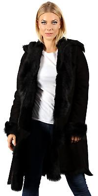 84163981a84 Details about Women's Luxurious 3/4 Black Toscana Shearling Sheepskin Coat