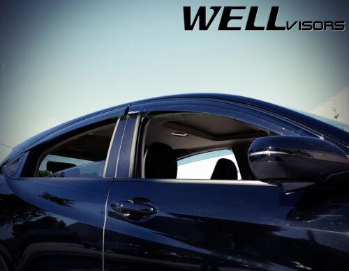 Fit 16-18 Honda HR-V WellVisors JDM Smoke Black Trim Window Visors Rain Guard