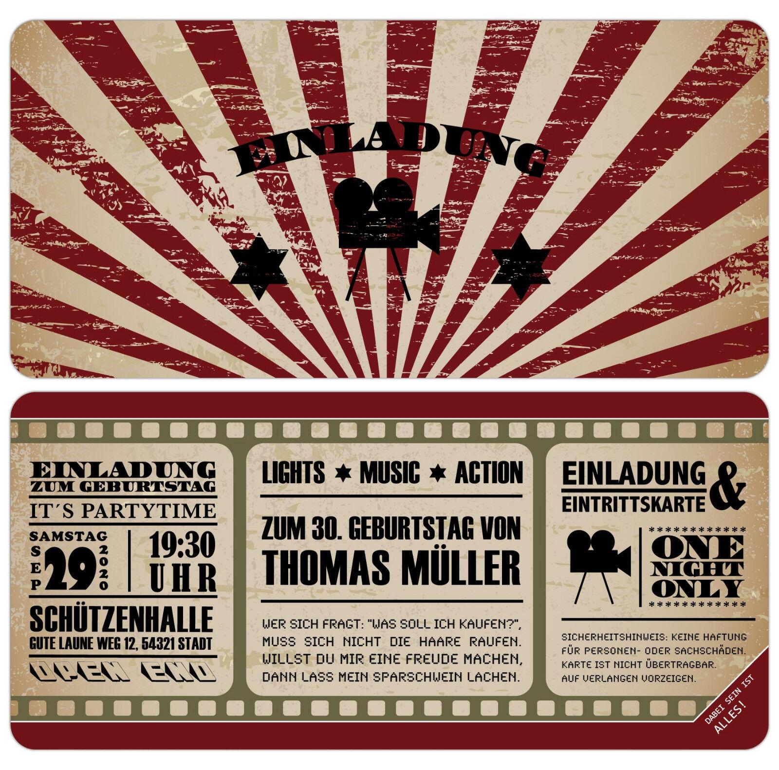 Vintage cine ticket tarjetas de invitación para mi cumpleaños boleto con demolición
