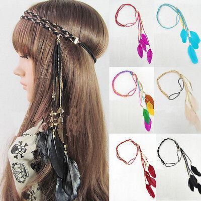 Indian Feather Tassel Headband Blue Headdress Fancy Dress Headpiece Hairband
