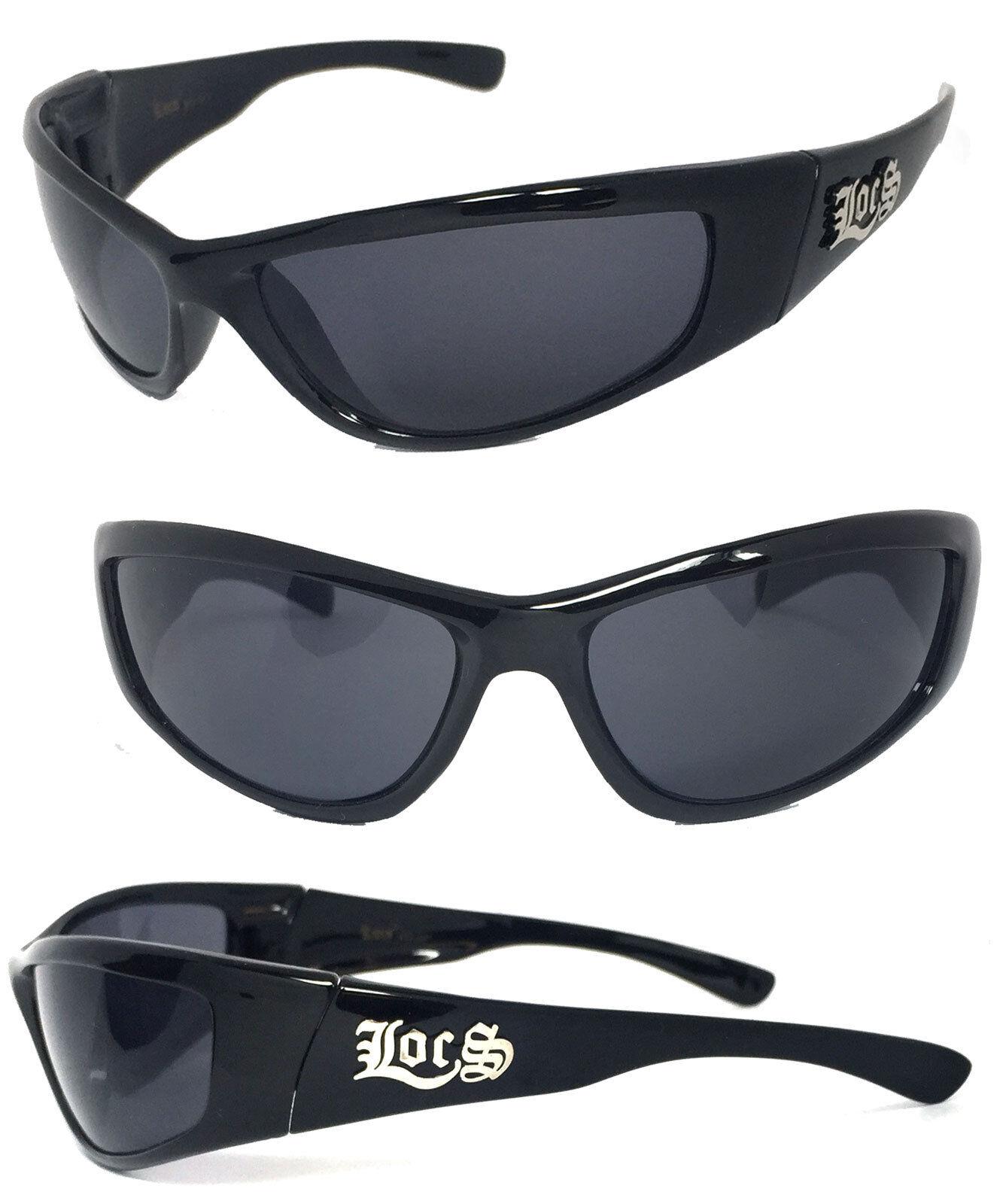 de294cc316 Locs Mens Cholo Biker Wrap Sunglasses UV Protect - Shiny Black Frame ...