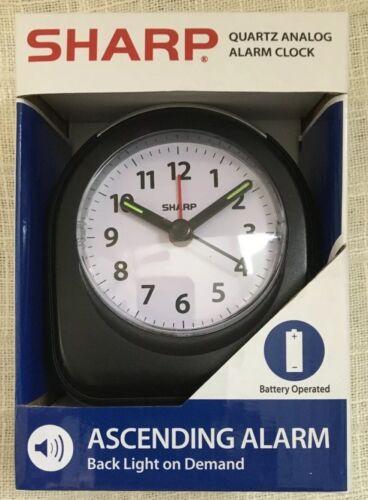 Sharp Quartz Analog Black Ascending Alarm Clock Battery Operated **NEW**