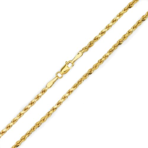 10k Gold Necklace Hollow Diamond Cut Rope Chain 1.8mm to 7.0mm