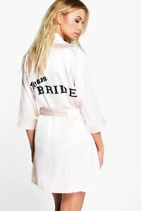 excellent quality another chance most reliable Details about Team bride Robe Wedding Bachelorette Party Boohoo Size Small  Blush Satin