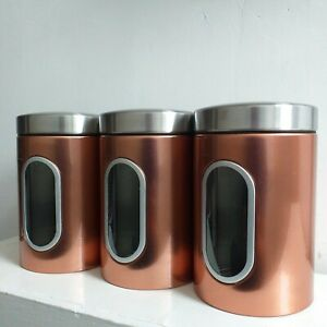 Details About Set Of 3 Copper Tea Coffee Sugar Canisters Stainless Steel Tins Storage Jars Pot