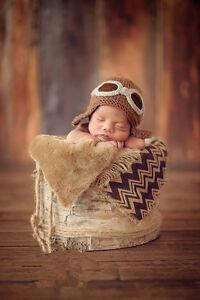 Newborn Baby Infant girl boy cute airman hat Crochet Knit Photo Photography Prop