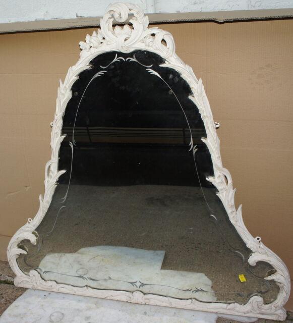 Vintage Mirror Carved Solid Wood Frame Old Antique Mid Century Nj