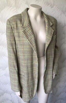Fedele Taglia 16 Vero Vintage 1980s Laura Ashley Jacket 100% Lana Check Verde Marrone Crema-mostra Il Titolo Originale