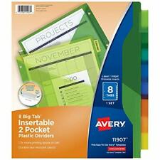 Lot Of 2 Packs Avery Big Tab Two Pocket Insertable Plastic Dividers 8 Tabspack