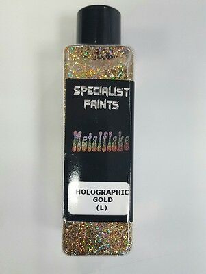 "Metal Flake, Custom Paint HOLOGRAPHIC GOLD 50grams LARGE (375 micron 0.015"")"