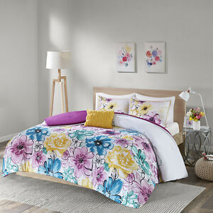Details about BEAUTIFUL MODERN BLUE AQUA TEAL YELLOW PURPLE GREY FLOWER  GIRLS COMFORTER SET