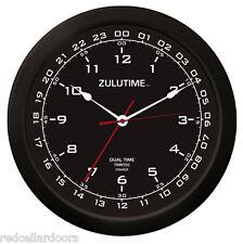 "TRINTEC ZULU CLOCK 12 & 24 HOUR DUAL TIME UTC MILITARY HAM SHACK SWL  ZT1401 14"""