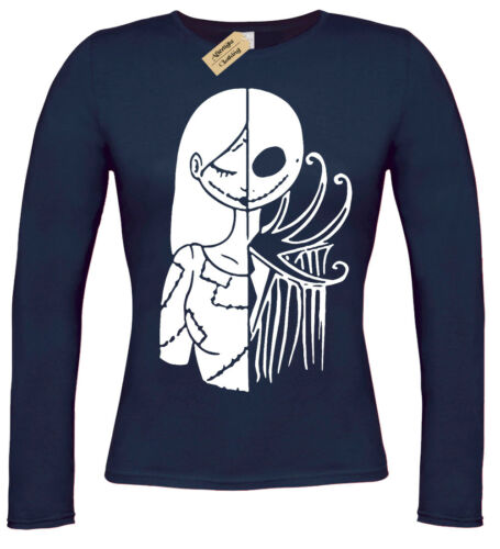 HALF JACK HALF SALLY T-Shirt christmas womens nightmare long sleeve top gift