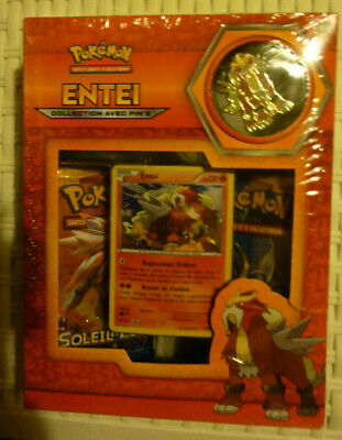 Neuf sous blister Coffret Cartes pokemon Entei collection avec pin/'s
