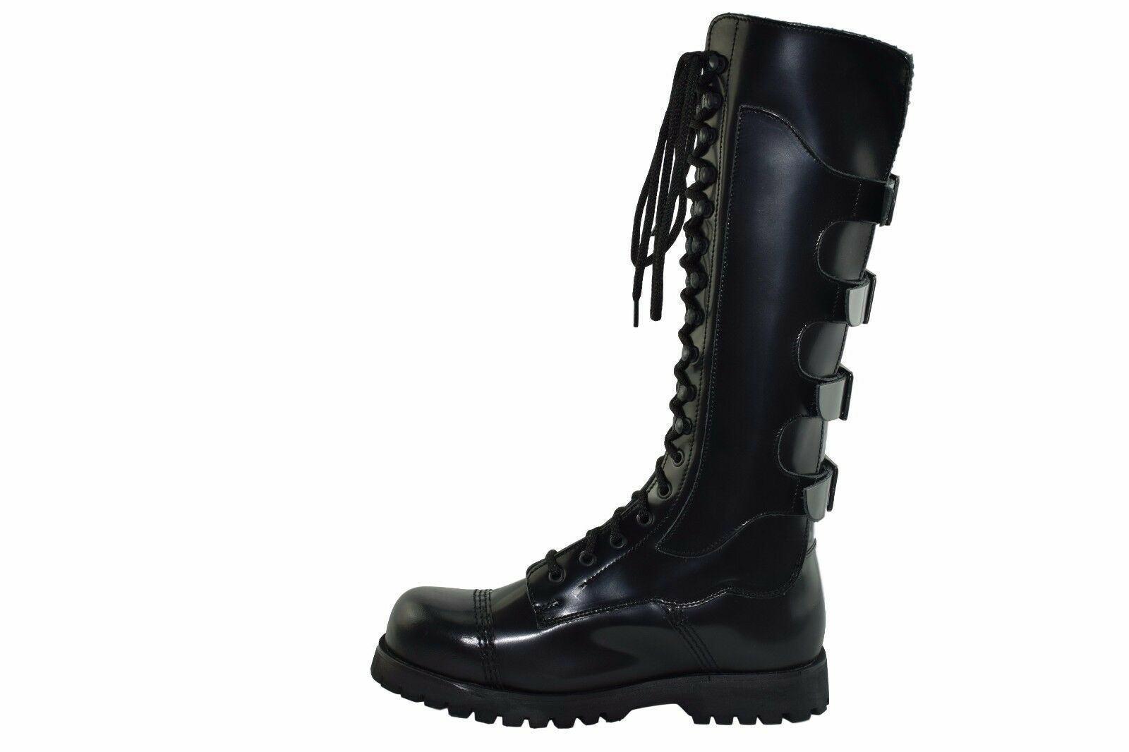 Steel Ground Black Leather Combat High Boots 4 Back Straps Buckle St112Z178 Rock