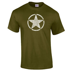 Military-Star-Willys-Jeep-DISTRESSED-US-American-Army-Combat-PREMIUM-DTG-T-Shirt