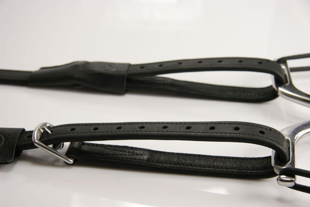 Exklusiv Steigbügelriemen TMD mit Loop KALBSLEDER Dressursteigbügel mono schwarz