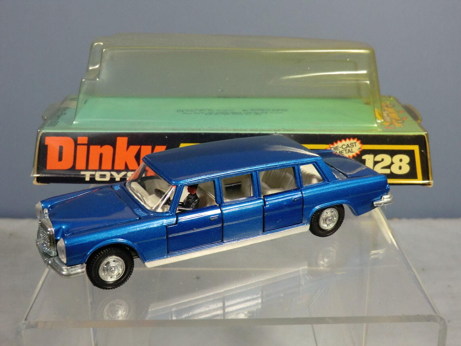 Dinky Toys Modelo No.128 Mercedes-Benz 600 Pullman Limousine (Met. blu) MIB