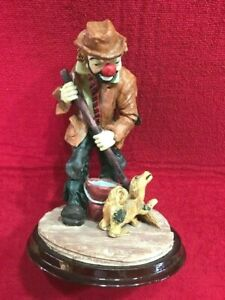 Vtg-Art-Mark-Clown-with-mop-pail-and-dog-Statue