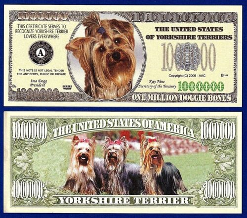 Note-P1 FAKE-Funny  MONEY 1-Yorkshire Terrier Dog Dollar Bill   Collectible