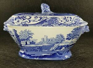 Rare-Vintage-SPODE-Italian-Blue-Tureen-Made-in-England