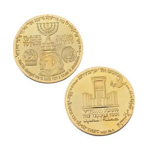 2018 King Cyrus Donald Trump Gold Plated Coin Jewish Temple Jerusalem Israel 1PK
