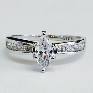 Solid 14k White Gold Channel Set Cubic Zirconia Marquise Engagement Ring Size 7 Ebay