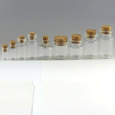 Clear Mini Bottles Small Cork Stopper 10//30//50//100PCS Glass Vial Jars Containers
