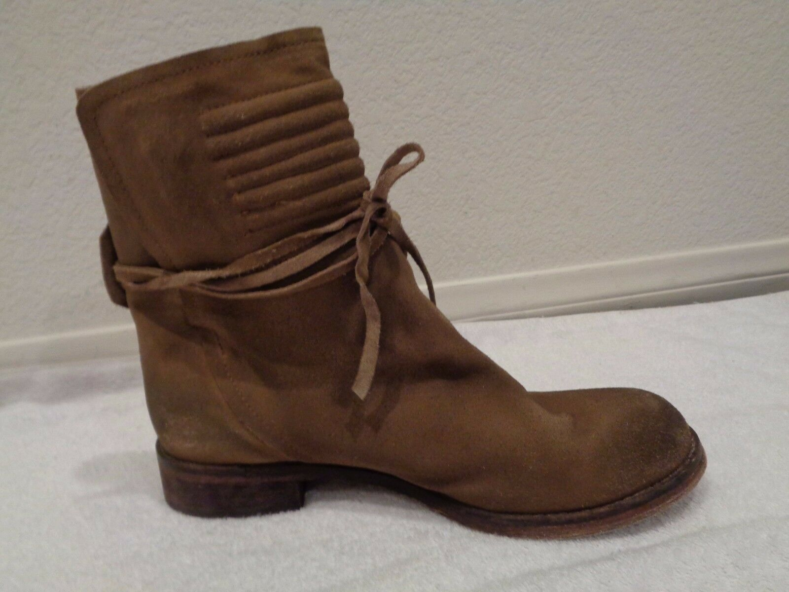 198.00 FREE PEOPLE Suede Wrap camel brown Ankle Boots SZ 38