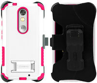 White Pink Tri-shield Case + Belt Clip Holster Stand For Motorola Droid Turbo 2 on sale