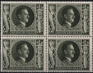 Stamp-Germany-Mi-849-Sc-B236-Block-1943-WW2-3rd-Reich-Adolf-Hitler-Birthday-MNH