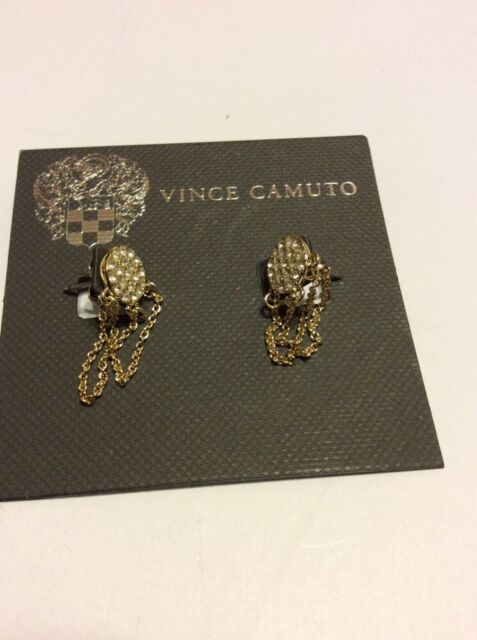 f5413a9a3 Buy Vince Camuto Gold Tone Pave Crystal Round Chain Earrings online ...