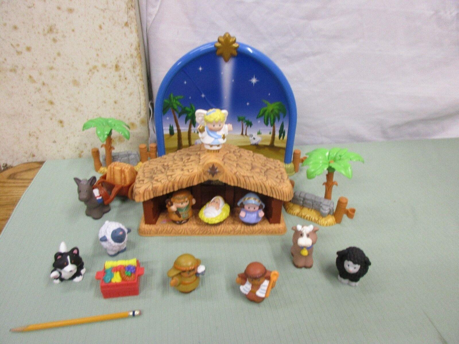 Fisherpris, små människor, julkraft, Mary Josef, Jesu ängel, djur