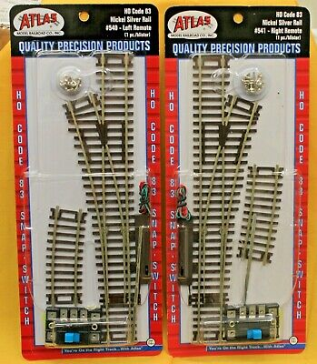 HO Scale ATLAS # 540 /& # 541 Code 83 REMOTE Switch Left /& Right Lot of 2