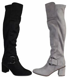 39992fb58b1 Ladies Faux Suede Knee High Boots Womens Fashion Mid Chunky Heel ...