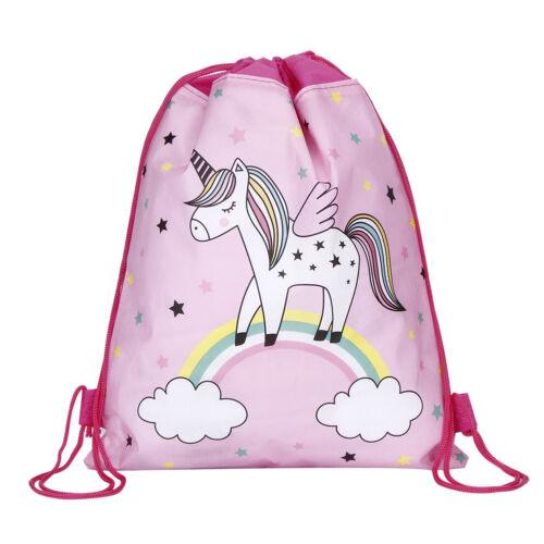 Unicorn Kids P.E Swim Drawstring Bag Girls Flying Horse School Gym Backpack