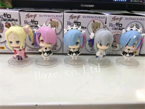 5Pcs-Set-Re-Life-in-a-Different-World-From-Zero-Ram-Rem-PVC-Figure-Keychain