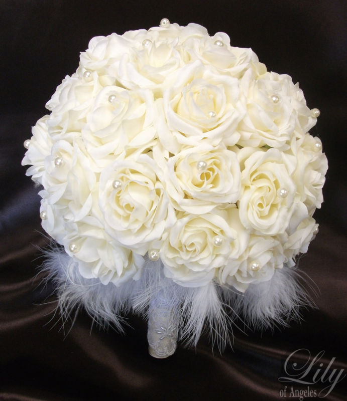 Bridal Bouquet & Boutonnière Mariage Rond Ivoire Perle