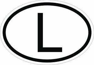Image Is Loading L Luxembourg Country Code Oval Sticker Per Decal