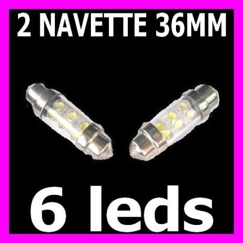 2 AMPOULE NAVETTES FEU 6 LED C5W 36MM BLANC BOITE A GANTS LISEUSE PORTIERE XENON