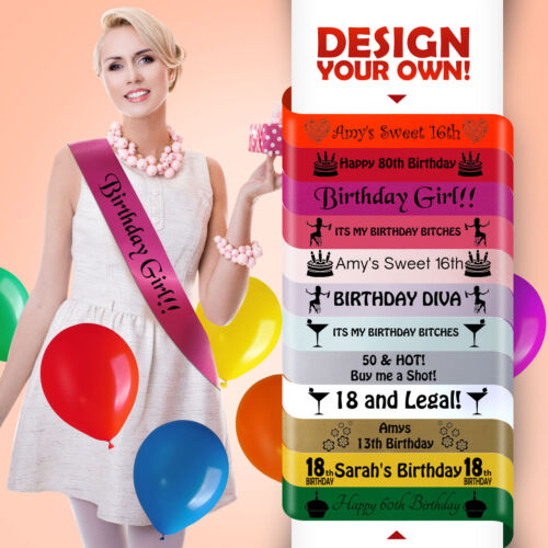 Anniversaire Fille écharpe 16th 18th 21st 30th 40th 50th 60th Birthday Party Sashes Neuf