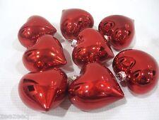 "(8) Valentines Day Shiny Red Hearts 2.5"" Ornaments Decorations Decor"