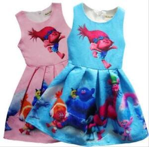 Girls-Kids-Princess-Poppy-Trolls-Sleeveless-Party-Holiday-Birthday-Dress-O32