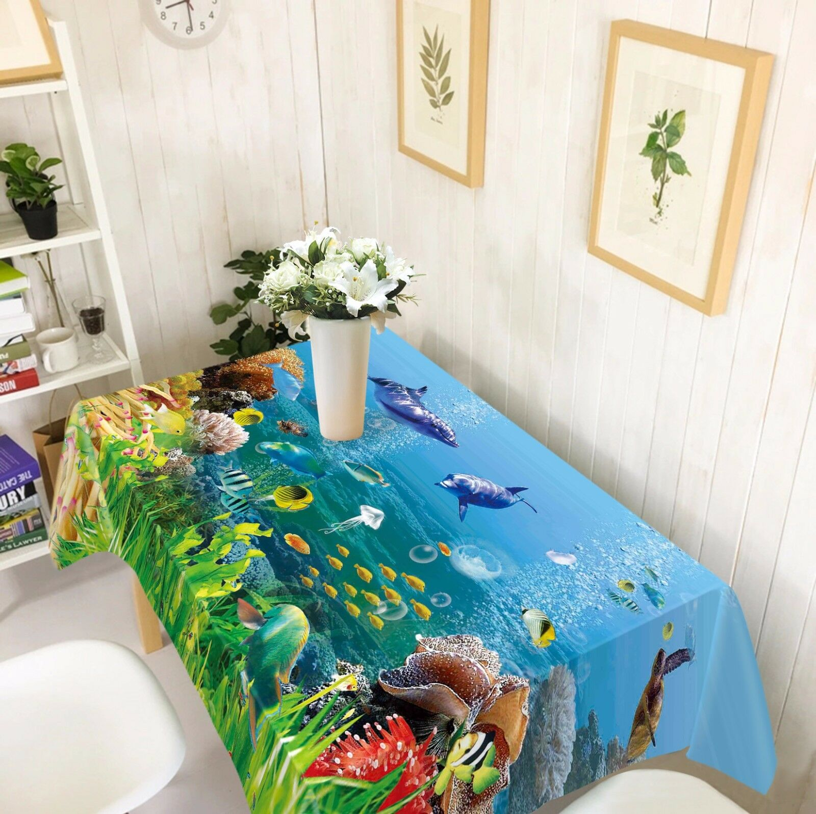 3D Sea Dolphin Nappe Table Cover Cloth fête d'anniversaire AJ papier peint Royaume-Uni Citron