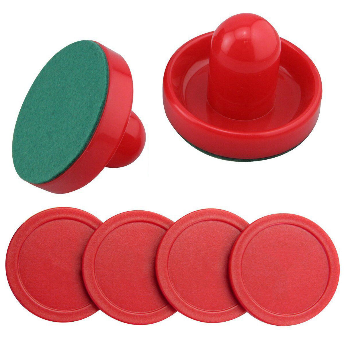 Indoor 96mm Air Hockey Table Felt Pusher with 4Pcs 63mm Plastic Puck Mallet Go