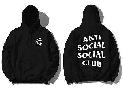 Anti Social Social Club ASSC white logo Mind Games Zip up Black Hoodie in hand