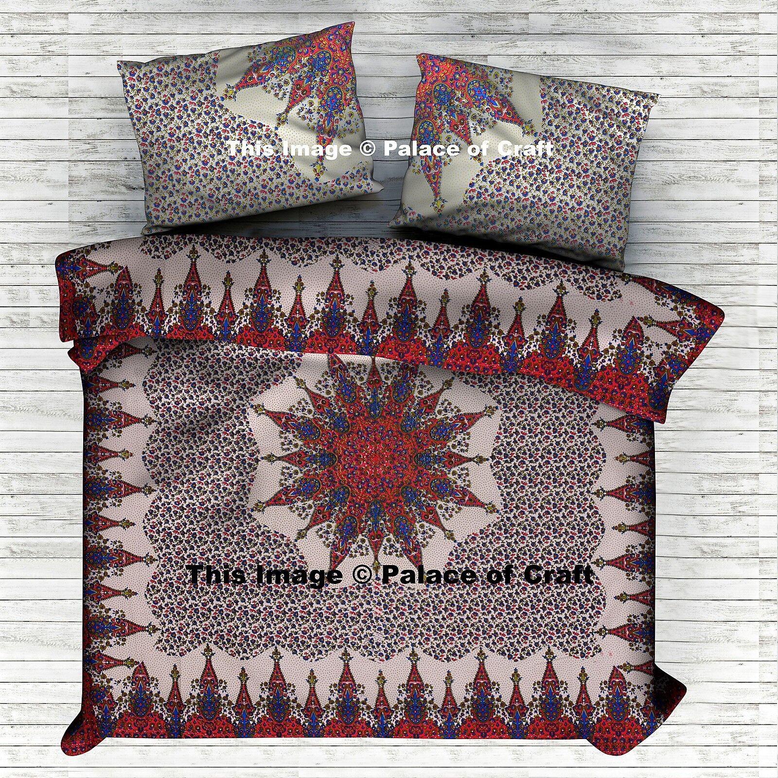 Antique Style Mandala Duvet Cover Reversible Doona Quilt Indian Bedding Set Boho